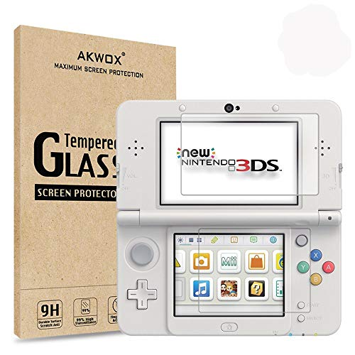[2-Pack] Akwox for New 3DS Tempered Glass Top LCD Screen Protector with HD Clear Crystal PET Buttom LCD Screen Protective Filter (Not for 3DS)