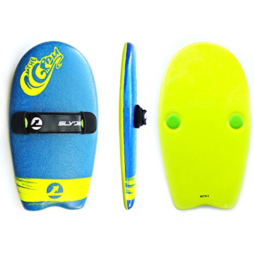 Image of the As Seen On Shark Tank! The Slyde Grom Soft Top Body Surfing Handboard, Easy to Use, Fun to Master, Safe for Kids, Portable, Light Weight, Durable with Exceptional Buoyancy - Blue/Electric Lemon