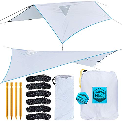 Ridge Outdoor Gear Rainfly Tent Tarp for Camping Hammock, Ripstop Polyester, 11 x 7.83 ft, Window Sky-View, Storm Shelter