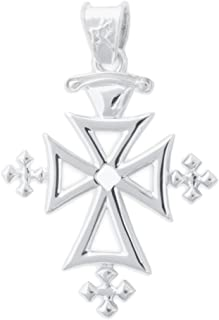 "Denali Designs Sterling Silver Strength Cross Pendant with 18"" Black Leather Cord Necklace"