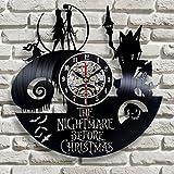 wtnhz LED-Nochebuena Horror Reloj de Pared con Disco de Vinilo Reloj de Pared de Estilo Retro Creativo Hueco
