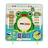 Flameer Kids Calendar Clock Board - Preschool Educational Learning Wooden Toy - Gifts