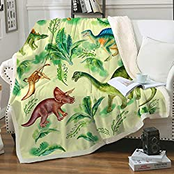 5. FairyShe Sherpa Dinosaur Throw Blanket