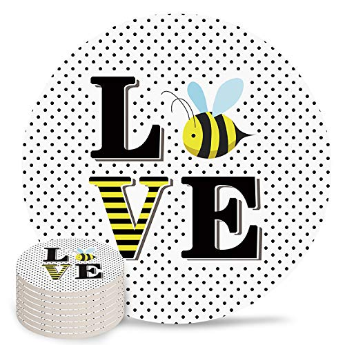 4' Ceramic Drink Coasters Set of 8 Absorbent Coaster with Cork Base Cups Mug Place Mats for Kitchen Bar Home Decor, Cute Cartoons Bee Love Polka Dot