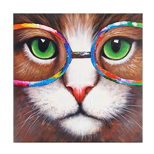 BGFDV Gato Fresco Abstracto con Gafas de Colores Pintura al óleo póster Impresiones en Lienzo Arte de la Pared decoración de la Imagen de la Sala de Estar