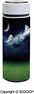 SCOCICI Vacuum Insulated Stainless Steel Water Bottle Flask Green Grass Landscape and Fluffy White Clouds Mystical Idyllic Lunar View Decorative