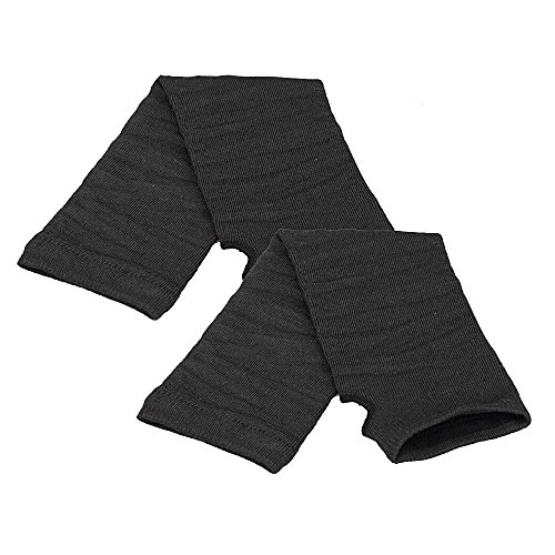 Allywit Women's Knitted Arm Warmer Gloves Warm Long Fingerless Mittens with Thumb Hole Gloves (Black) Photo #3