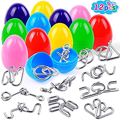 LUDILO 12Pcs Colors Easter Eggs + 12Pcs Metal Wire Puzzles Brain Teaser Toys Easter Eggs Hunt Gifts Easter Basket Fillers Easter Surprise Eggs for kid Easter Theme Party Favor Classroom Prize Supplies