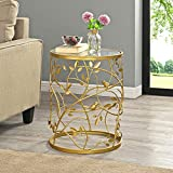 FirsTime & Co. Gold Large Bird and Branches Side Table, American Designed, Gold, 16.5 x 16.5 x 22 inches (70311)