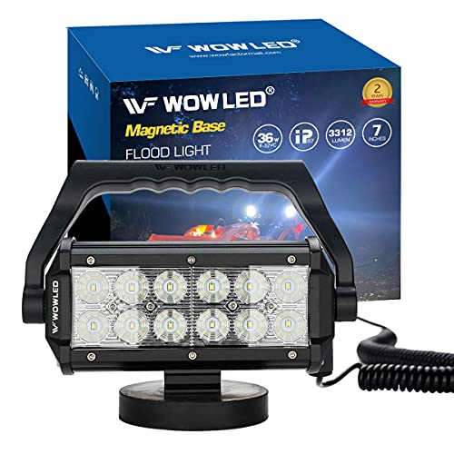 WF Magnetic Mount LED Work Light, Upgraded Super Bright 36W Portable LED Work Light with Dural Heavy Duty Carry Handle, Flood Headlight for Camping Car SUV Boat Bar Truck Driving Lamp Fog Lights