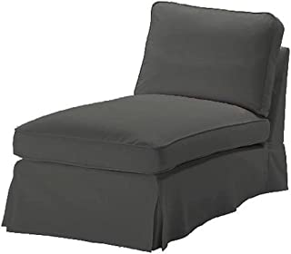 The Dense Cotton Ektorp Chaise Cover Replacement is Custom Made Compatible for IKEA Ektorp Chaise Lounge Cover. A Sofa Slipcover (Durable Cotton Dark Gray)