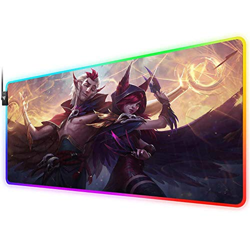 RGB Gaming Mouse Pad for xayah rankan, LED Soft Extra Extended Large Mouse Pad,Anti-Slip Rubber Base,Computer Keyboard Mouse Mat 31.5 X 12 Inch