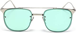 Rivet Decoration Colored Lens Lady's Metal Frame UV Protection Sunglasses Outdoor Driving Travelling. (Color : Green)