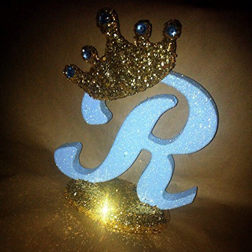Glitter crown centerpieces Personalized Royal themed centerpieces for baby shower centerpieces Prince theme or Princess theme 10 sparkling letters or numbers!