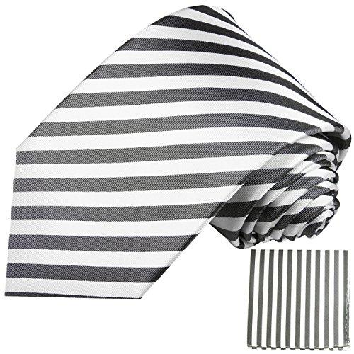 Blanc anthracite rayé ensemble de cravate 2 Pièces ( longueur 165cm )