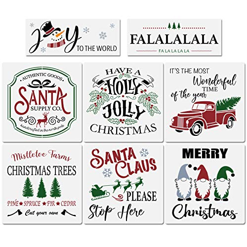 8Pcs Reusable Christmas Stencils-12x12 Inches Large Merry Christmas Stencils Including Gnome/Christmas Tree/Joy to The World/Santa/Truck/Falalala, Making Your Own Farmhouse Christmas Sign