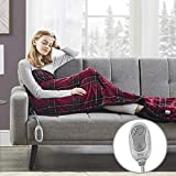 MP2 Heated Plush Sherpa Throw with Foot Pocket - Electric Blanket for Lap w/ 3 Heating Levels & 2 Hours Auto Shut Off, UL Certified EMF Radiation Safe, Machine Washable - 50'x 62', Red Plaid