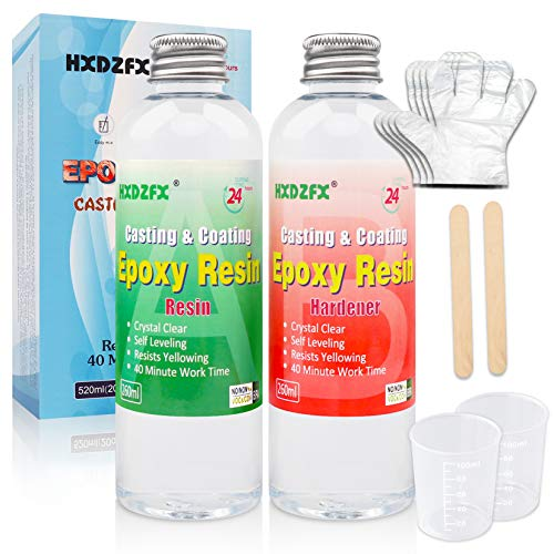 Epoxy Resin Clear Crystal Coating Kit 520ml 20oz - 2 Part Casting Resin for Art, Craft, Jewelry Making, River Tables, with Resin Glitter, Gloves, Measuring Cup and Wooden Sticks