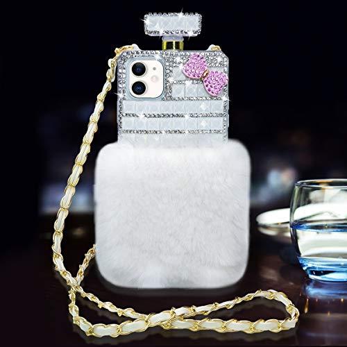 Fusicase for iPhone 11 Plush Case Bling Diamond Glitter Crystal Rhinestone 3D Flower Perfume Bottle Cover with Neck Strap Crossbody Chain Case Furry Fuzzy Hair Case for Girls Women White