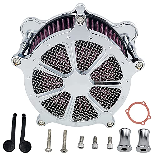 ONETK Air Cleaner Intake Filter System Kit Contrast Cut for Harley-Davidson Touring Road King Electra Glide Road Glide Street Glide Softail Dyna FXR Chrome