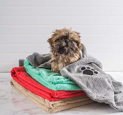 Bone Dry Embroidered Pet Towel, 44 x 27.5', Taupe