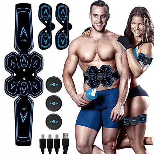 WARDBES Bauchmuskeltrainer, EMS Trainingsgerät, USB Wiederaufladbar Muskelstimulator bauchtrainermit 6 Modi & 9 Intensitäten, LTragbarer Muskelstimulator,für Bauch,Arm,Bein-Fitness Trainings Gang