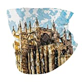 Q&SZ Sweatshirt Outdoor Headband Gothic Decor Big Gothic Church On The Sea Shore Cathedral of Palma De Mallorca View from Road Cream Blue White Scarf Neck Gaiter Face Bandana Scarf Head Scarf