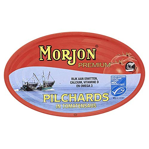 Morjon – Sardientjes in Tomatensaus – Sardientjes in Tomatensaus – Ideaal voor Tapas – Product uit Nederland – 410 Gram