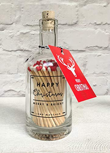 Bella Jacob Apothecary Glass Bottle of Matches Long Matches - Candle Match Bottle (Red & White)