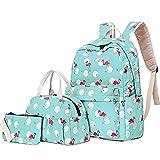 Flamingo Schultaschen Set, Junlion Weiche Polyamid Tasche Wasserdichter Leichtgewicht Laptop Rucksack Lunchpaket Federmäppchen für Schüler Büroangestellte Hellgrün
