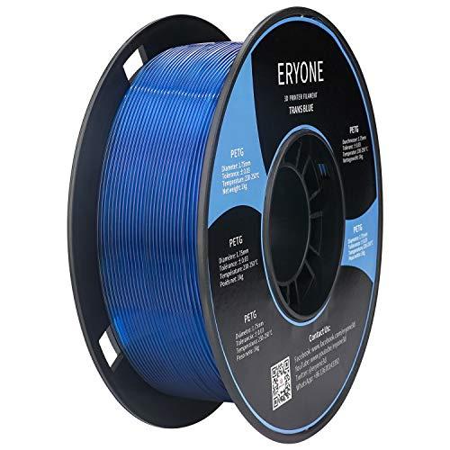 Filamento PETG Transparente Blue 1.75 mm,Filamento ERYONE para Impresora 3D y Lápiz 3D, 1 kg, 1 Spool
