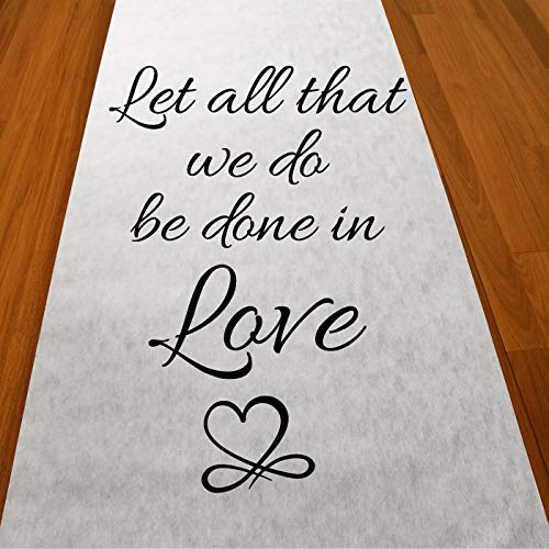 Gifts & Company Let All That Be Done in Love Wedding Aisle Runner (75 feet Long) Wedding Ceremony Decor