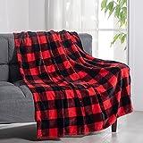 HANTURE Buffalo Manta de tela escocesa para sofá, cama, sofá, silla, franela suave, color rojo, negro, a cuadros, manta decorativa de 59 x 79 invierno, cálida y ligera manta de microfibra