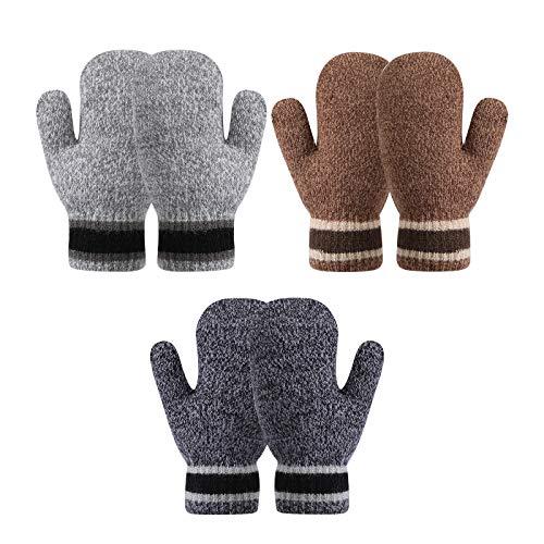 TAGVO Handschuhe & Fäustlinge für Baby-Mädchen Jungen, 3 Paare Kleinkind Warm Gestrickte Fäustlinge, Dick Winddicht Elastisch Kinder Handschuhe für Alter 6 Monate ~ 3 Jahre