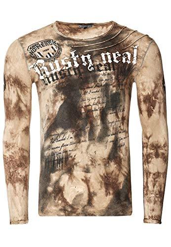 Herren Longshirt Langarm Rundhals Longsleeve O-Neck Tee Printed Shirt Regular Fit Verwaschen Druck 155-1, Größe S-6XL:XL, Farbe:Camel