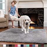 GORILLA GRIP Original Faux-Chinchilla Area Rug, 3x5 Feet, Soft and Cozy High Pile Washable Kids Carpet, Modern Rugs for Floor, Luxury Shag Carpets for Home, Bed and Living Room, Dark Gray