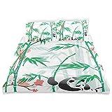 Juego de Funda nórdica Bambúes Gigantes de Hierba leñosa y Oso Panda en trópicos Chinos Juego de Cama Decorativo artístico de 3 Piezas con 2 Fundas de Almohada