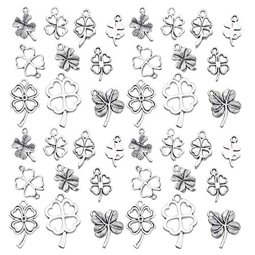 Youdiyla 79pcs Four Leaf Clover Charms Collection, Antique Silver Tone, Mix 4 loaf chover, Lucky Clover Charms, St Patricks Irish Metal Pendant Supplies Findings for Jewelry Making (HM191)