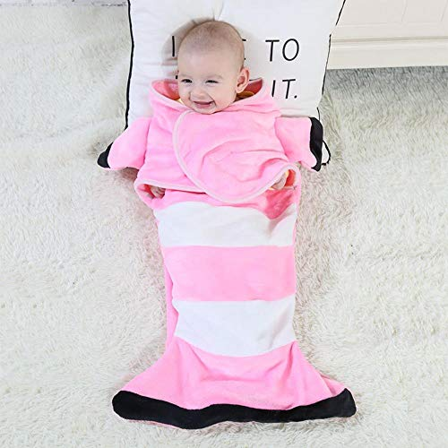 ZHANGYY Cartoon shape baby blanket flannel baby infant baby shark wrapped blanket mermaid sleeping bag, pink clownfish, 33X70cm