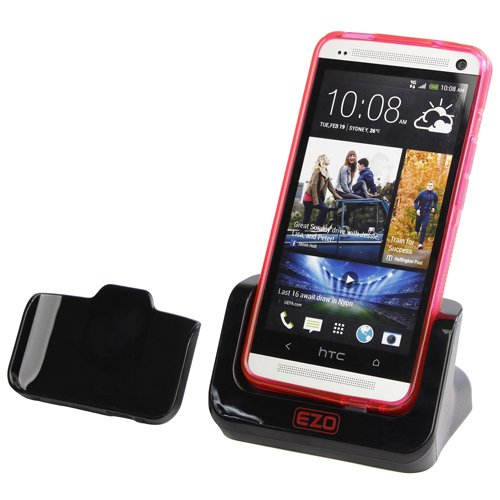 EZOPower Sync Transfer USB Cradle Desktop Charger Dock with Detachable Case Plate for The New HTC One (AT&T, T-Mobile, Sprint, Verizon)
