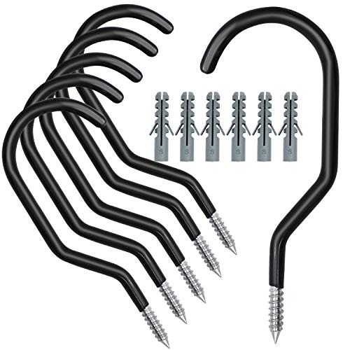 HiGift 6 Pack Heavy Duty Screw in Bike Hooks for Garage Ceiling Storage, Garage Bicycle Hooks for Wall with 6 Pack Bolts