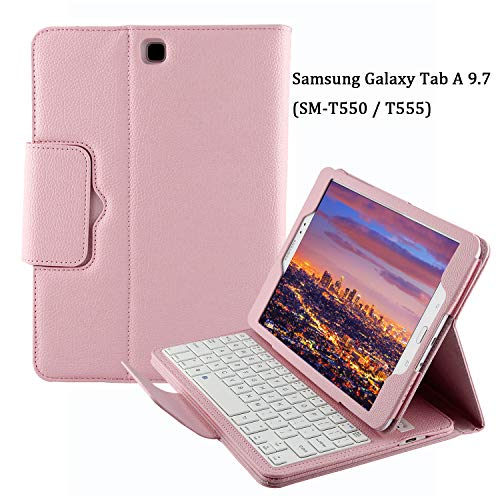 Keyboard Case for Samsung Galaxy Tab A 9.7 (SM-T550 / T555), YMH Detachable Magnetic Removable Wireless Bluetooth Smart Keyboard Cover Auto Sleep/Wake with Stand Folio Slim Fit Premium PU Leather (03)