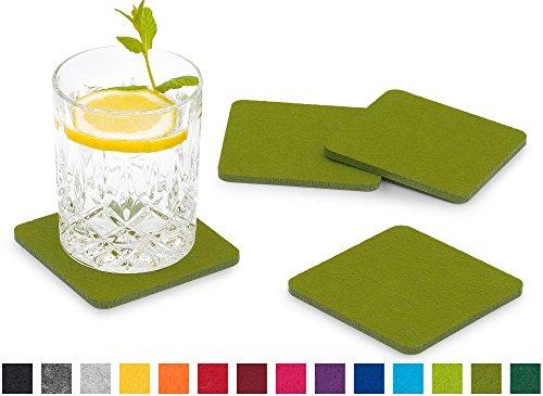 FILU Filzuntersetzer eckig 8er Pack (Farbe wählbar) grün - Untersetzer aus Filz für Tisch und Bar als Glasuntersetzer/Getränkeuntersetzer für Glas und Gläser rechteckig viereckig