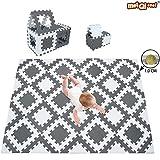 meiqicool Alfombra Puzzle Bebe Puzzle Suelo Bebe Acolchado Alfombra Goma eva Blanco-Gris 160 x 120 cm ALg30T28