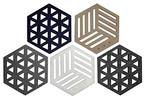 TAZALI Filzuntersetzer – Moderne Esszimmer Deko – Hexagon mit 8,5cm Durchmesser – 5-teiliges Glas Untersetzer-Set bestehend aus 5 Farben – auch ideal als Teller Untersetzer nutzbar (Elegantes Set)