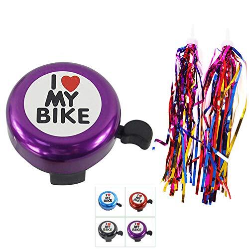Erwachsene Kinder Fahrradklingel,GOOKUURL Kinderfahrräder Zubehör- I Love My Bike Fahrrad Glocke mit 1 Paar Fahrrad Quasten für Kinderfahrrad Deko (Violett)
