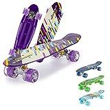 Mini Cruiser,Skateboard Completo, 22 Pulgadas Monopatín Retro Mini Cruiser con Ruedas Led Light Up Rodamiento ABEC-7 para Adolescentes Niñas Niños Adultos-púrpura