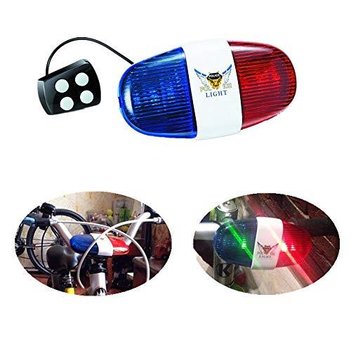 Elektrische Fahrrad Polizei Sirene Licht - Lustige Horn Hupe Klingel Laut - mit 6 LED Blinklicht und 4 Tönen für Kinder, Blau Rot