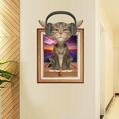 JKJND Abnehmbare Hängebrücke Himmel Treppe 3D-Flachbild-Wand-Wandaufkleber Sofa Im Wohnzimmer Schlafzimmer Nacht Personalisierte Aufkleber, 3D-Fotorahmen Katzen