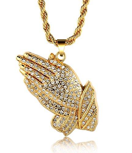 Halukakah ● Gebet ● Männlich In 18 Karat Vergoldetete umhüllende Hände hängende Halskette mit Kostenloser Seil-Kette 30